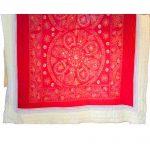 Orange & Peach Machine Embroidered Jaipuri Cotton Quilt