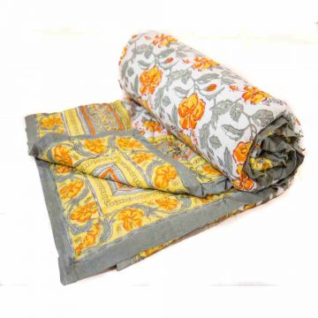 Block Print Multicolor Jaipuri Cotton Voile Quilt