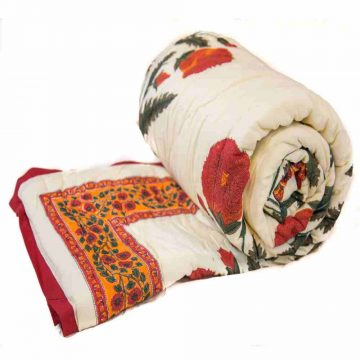 Multicolor Digital Flower Print Jaipuri Cotton Voile Quilt