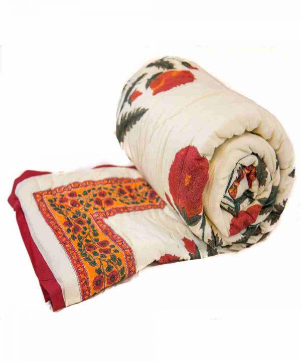 Multicolor Digital Flower Print Jaipuri Cotton Voile Quilt