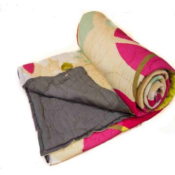 Digital Print Multicolor Black Jaipuri Cotton Voile Quilt