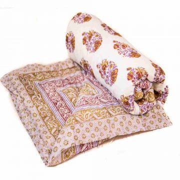 Jaipuri Block Print Multicolor Cotton Voile Quilt