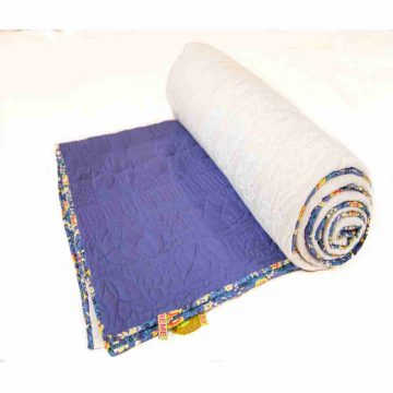 Machine Embroidery Blue and White Jaipuri Cotton Quilt