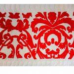 Red & White Woolen Embroidered Jaipuri Cotton Voile Quilt