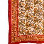 Red and White Traditional Block Print Cotton Voile Quilt