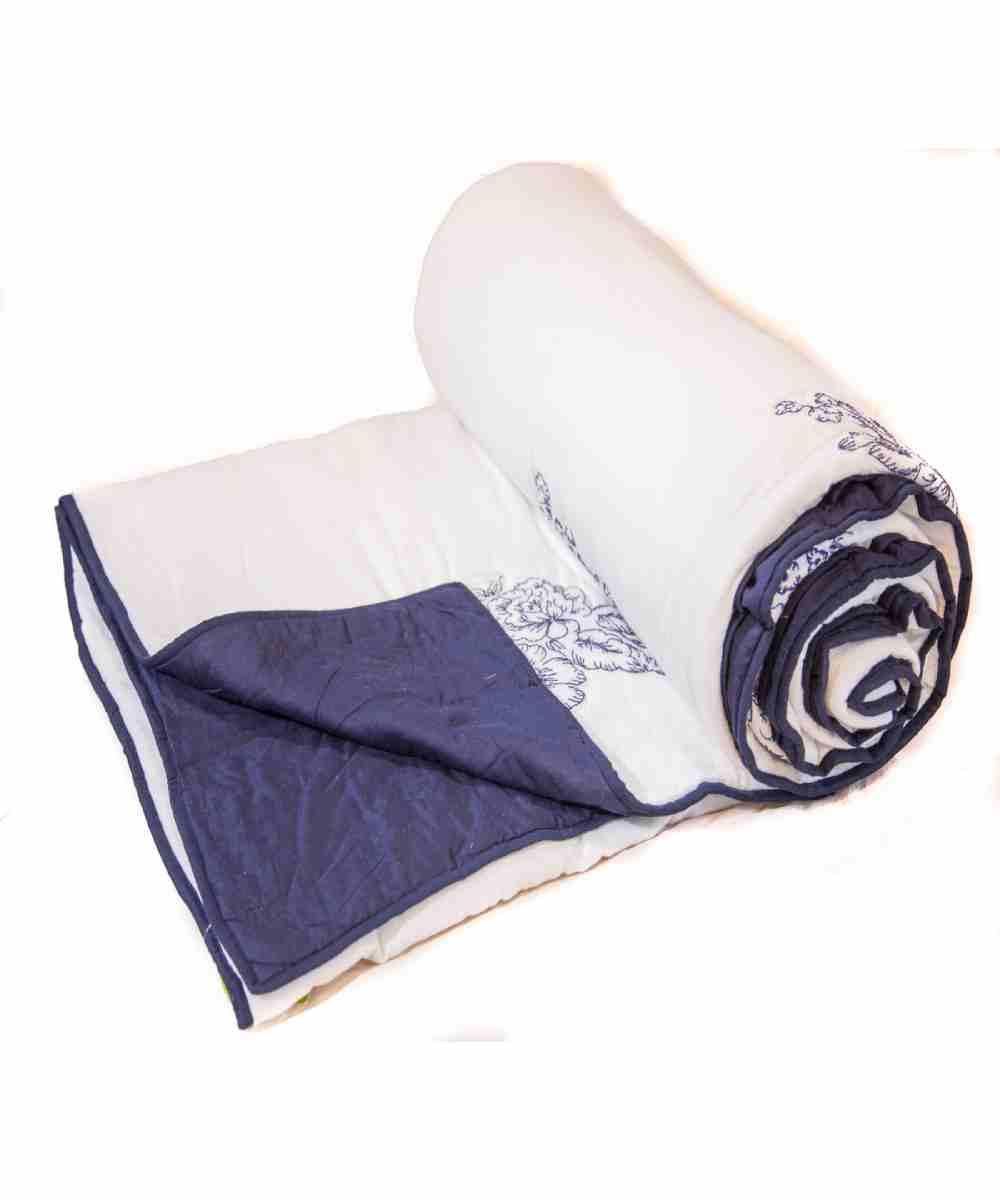 Digital Print White and Blue Jaipuri Cotton Voile Quilt