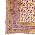Multicolor Block Print on White Cotton Voile Quilt
