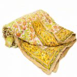 Yellow Multicolor Digital Floral Print Quilt