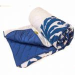 Blue and White Woolen Embroidered Jaipuri Cotton Voile Quilt