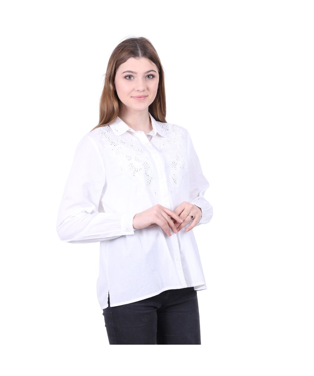 Cotton Schiffli Shirt for Women