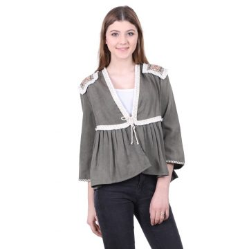 Khaki Patchwork Top