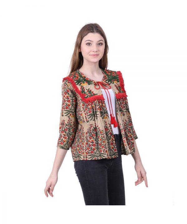 Multicolor Printed Pleated Top for Ladies