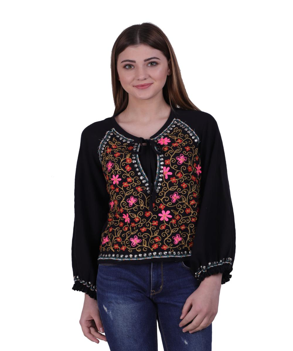 Black Cotton Embroidered Jacket for Women