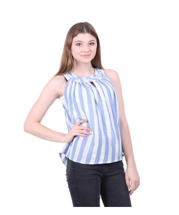 Blue and White Lurex Striped Top for Women (Favorite)