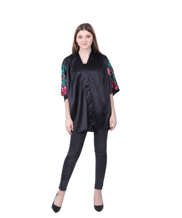 Viscose Satin Black Embroidered Robe Jacket for Women