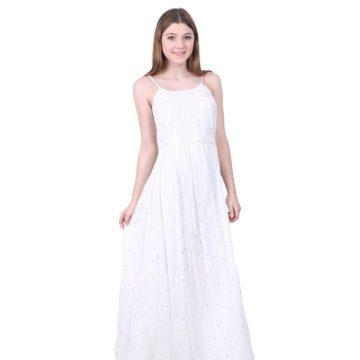 White Lurex Chiffon Sleeveless Dress for Women
