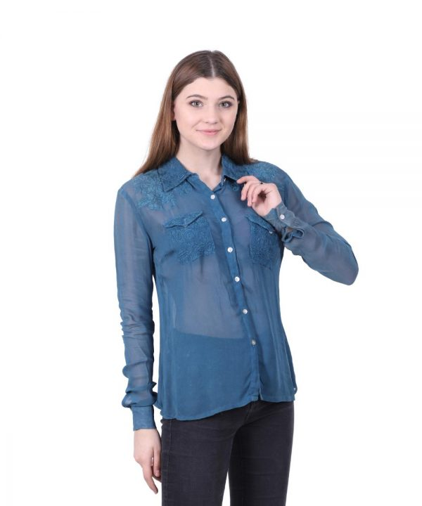 Navy Blue Georgette Embroidered Shirt for Women