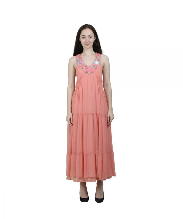 Peach Georgette Embroidered Sleeveless Dress for Women (Panky)