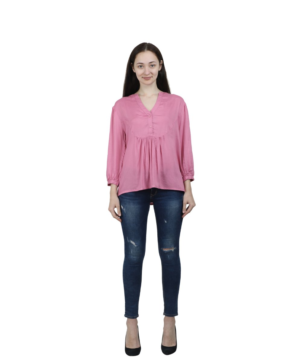 Pink Rayon Solid Top