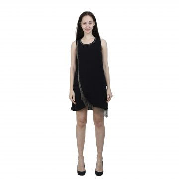 Black Satin Embellished Short Dress for Women