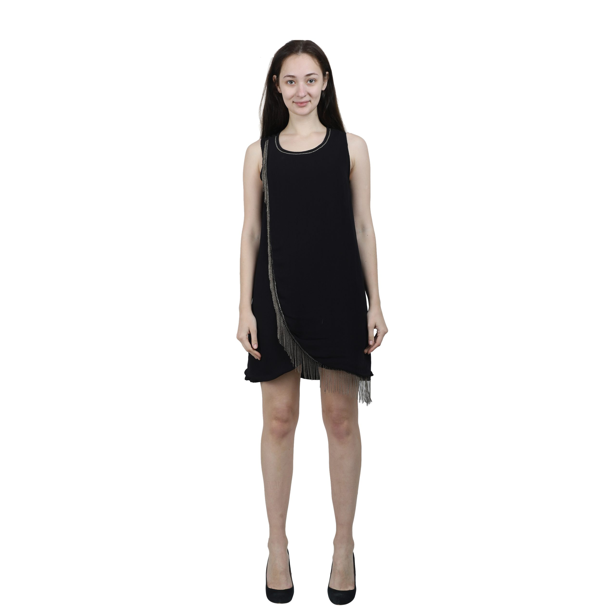 Black Satin Embellished Short Dress for Women