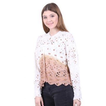 Tie-Dye Brown Schiffli Shirt Style Top for Women