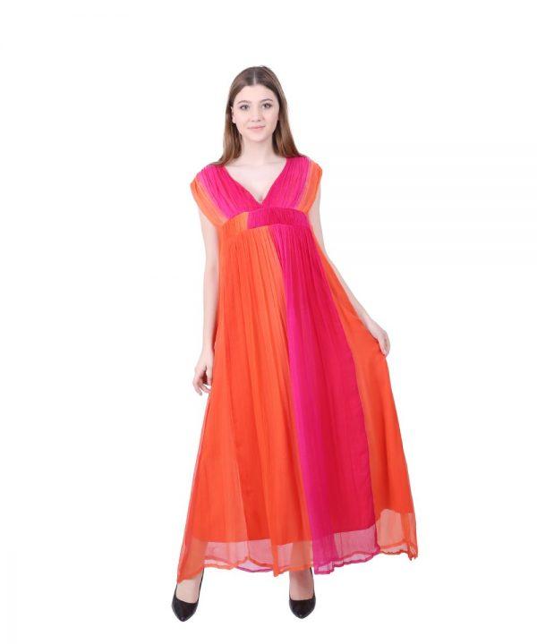 Tie-Dye Orange Fuchsia Chiffon Long Dress for Women