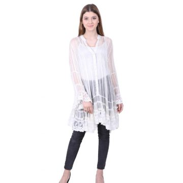 White Viscose Flared Short Dress for Ladies (Moon Light)