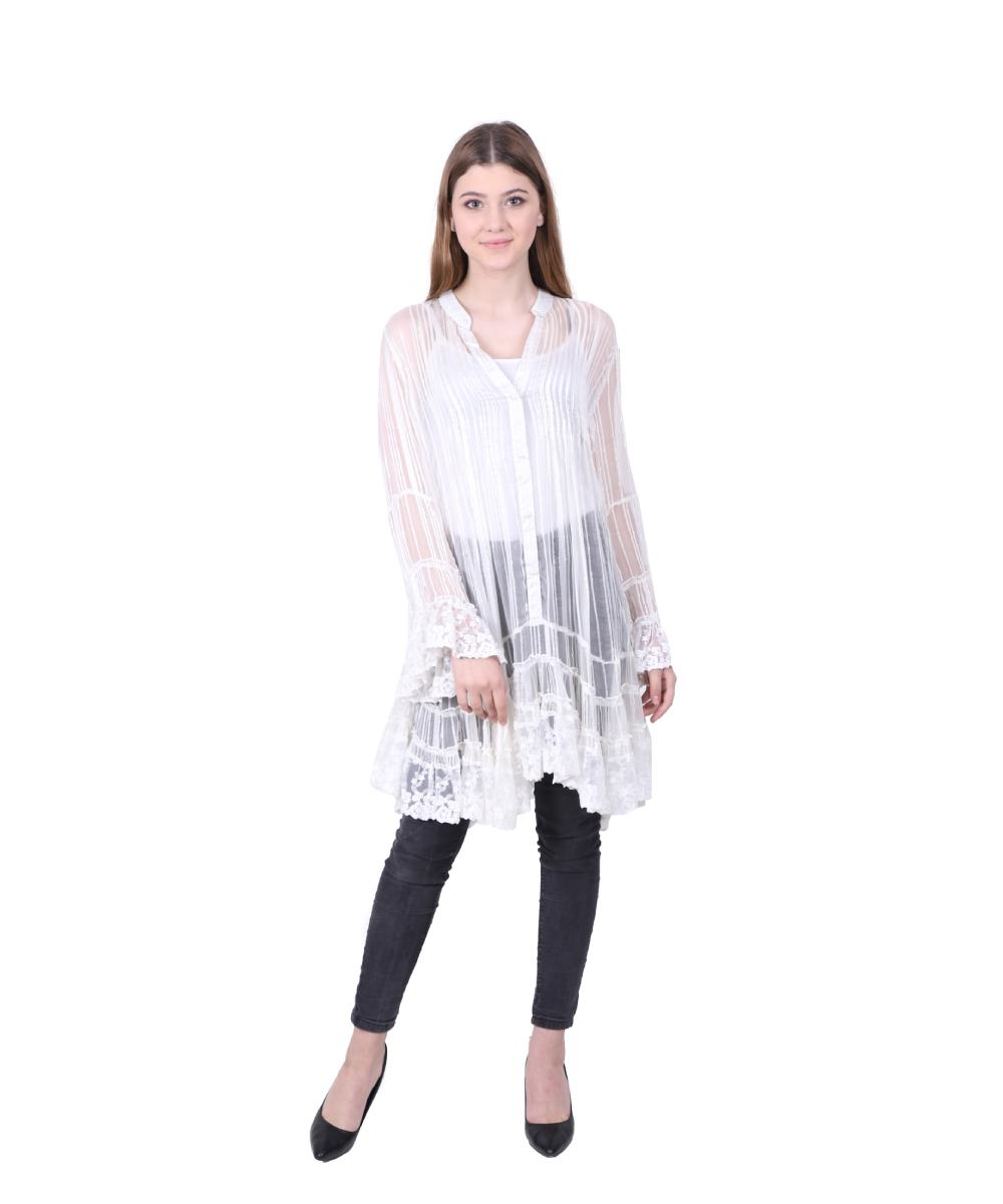 White Viscose Flared Short Dress for Ladies (Moon Light)