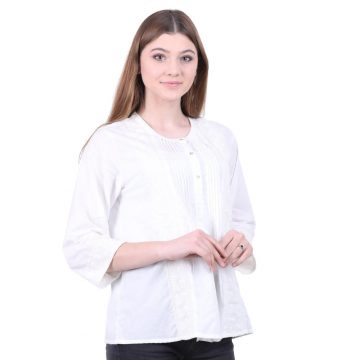 Off White Embroidered Lace Cotton Voile Top