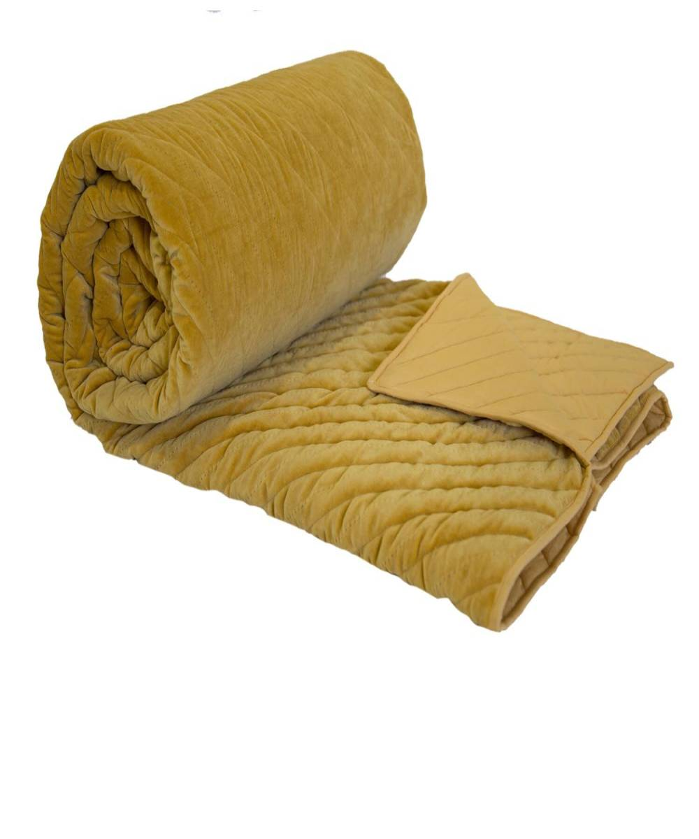 yellow velvet quilt