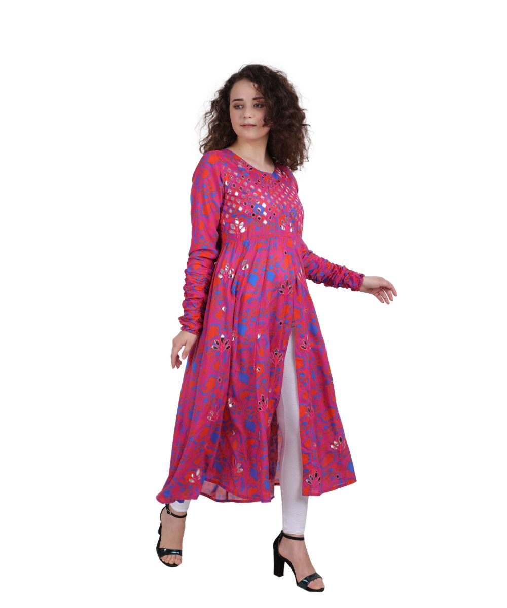 Rani Pink Rayon Crepe Embroidered Ethnic Dress for Women