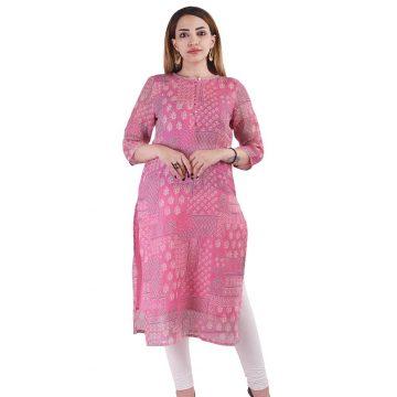 Pink linen printed kurta