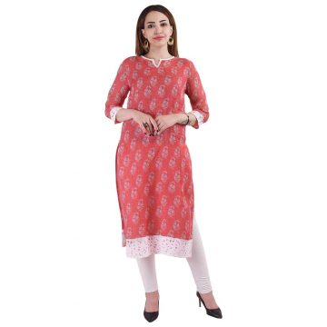 Red Printed Linen Kurta for Women (Ragi)