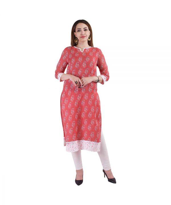 Red Printed Linen Kurta for Women (Ragi)