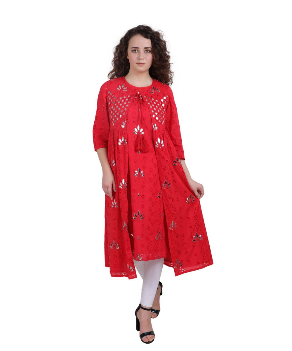 Red Schiffli Kurta with Jacket