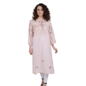 Pink Rayon Crepe Embroidered Flared Kurta for Women