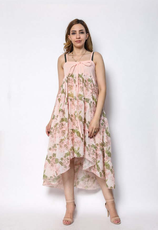 100% pure organic linen dress  with digital floral print