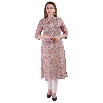 beige paisley motifs  100% pure organic linen kurta  with digital  print