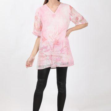 100% pure organic linen v neck  top with digital  print