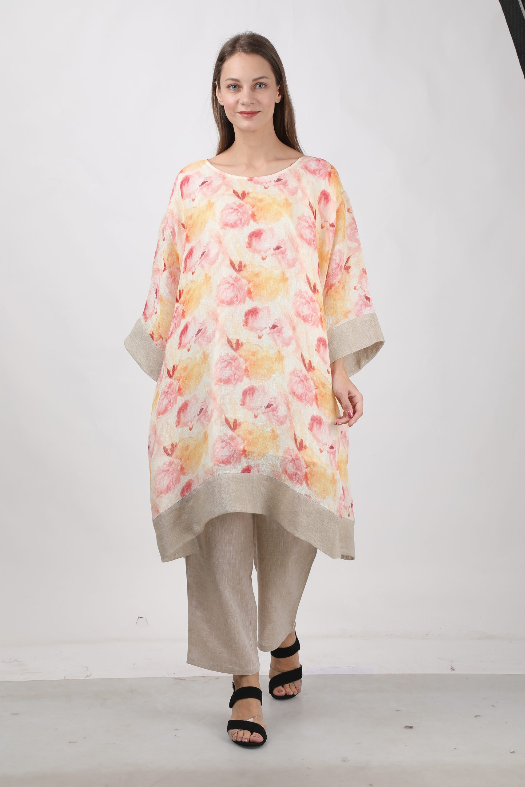 100% pure organic linen top with digital  print