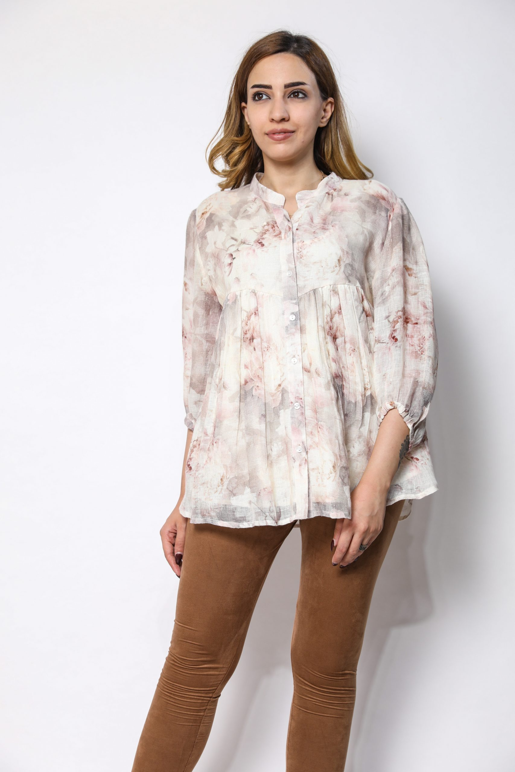 100% pure organic linen top with digital  print