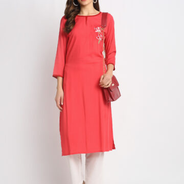 RED EMBROIDERED 100% PURE  ORGANIC VISCOSE  RAYON  KURTA