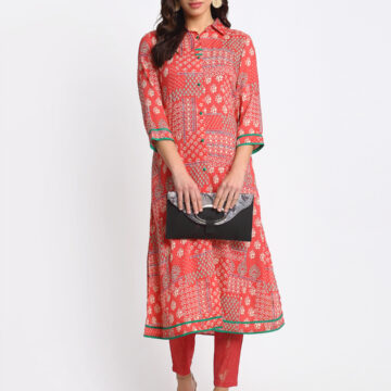 """RED DIGITAL PERSIAN ANTIQUE PRINTED 100% PURE ORGANIC VISCOSE  KURTA   """