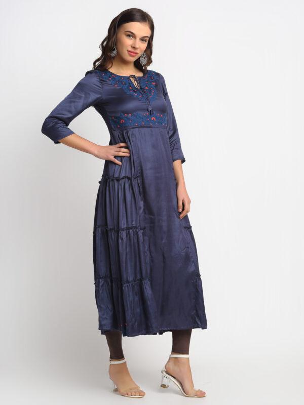 BLUE EMBROIDERED 100% PURE ORGANIC SILK SATIN FLARED MAXI DRESS