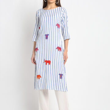 """ELEPHANT EMBROIDERED 100% PURE ORGANIC YARN DYED COTTON STRIPED   KURTA  """
