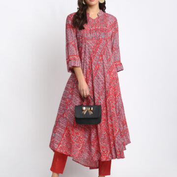 """RED 100% NATURAL  SILK BLEND  KURTA WITH BEAD WORK AND PIN TUCKS AT THE YOKE """