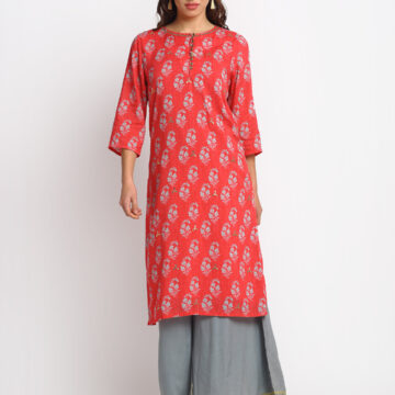 RED AND GREY GOTTA EMBELLISHED  100 % PURE ORGANIC SILK BLEND PRINTED KURTA SET