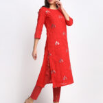 3D MIRROR  EFFECT EMBROIDERED RED 100% ORGANIC COTTON  KURTA