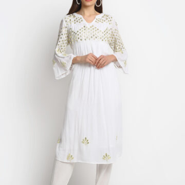 100% ORGANIC VISCOSE   KURTI WITH 3D EMBROIDERED MIRROR EFFECT AND PANT ""